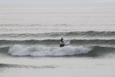 paddle boarder out front